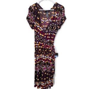 Bisou Bisou Women's Wrap Dress Size 16 Purple Blk